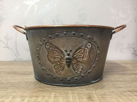 Vintage Butterfly Tin Planter 19 cm GREY